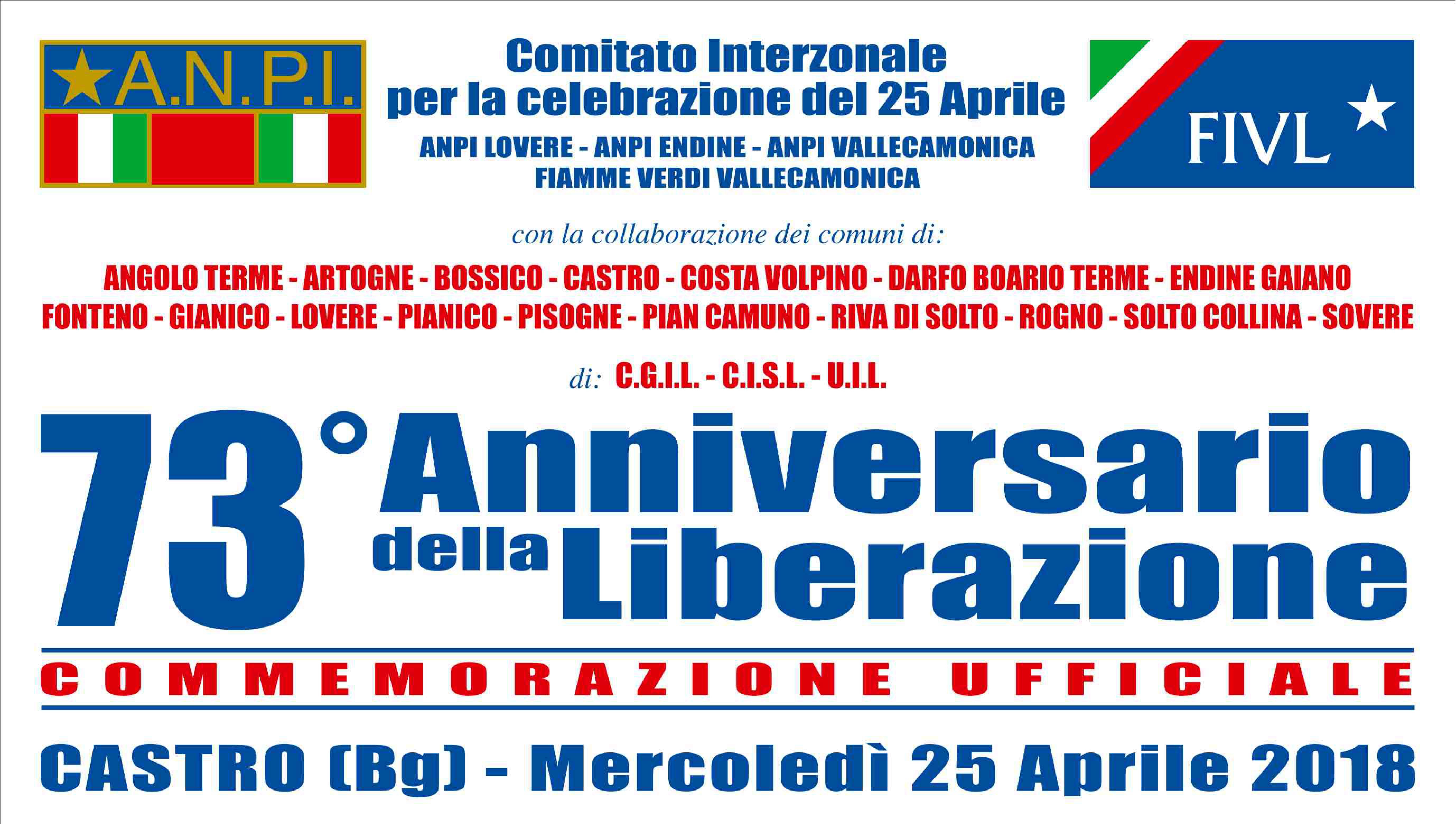 73° Anniv. della Liberazione 25 Aprile 2018 a Castro (Bg)