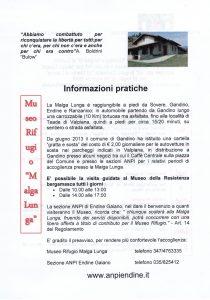"""La sezione ANPI """"Giuseppe Brighenti"""" di Endine Gaiano organizza """"Sui passi della libertà"""""""