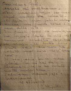 Lettera di Giorgio Paglia a Cicci Maria Vandone
